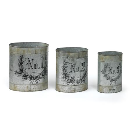 Set of Three French Numbered Tins