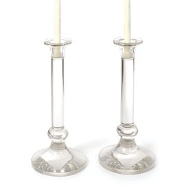 Pair Of Crystal Tall Candlesticks