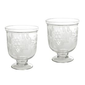 Pair Of Small Antique Leaf Etched Hurricanes