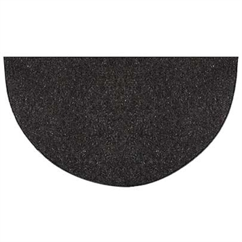Pictured is the 36 inch x 72 inch Ember Half Round Black Hearth Rug  manufactured in America by Goods of the Woods