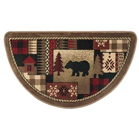 Pictured is the 25 inch x 42 inch Fire Resistant Bear Pattern Hearth Rug manufactured in America by Goods of the Woods