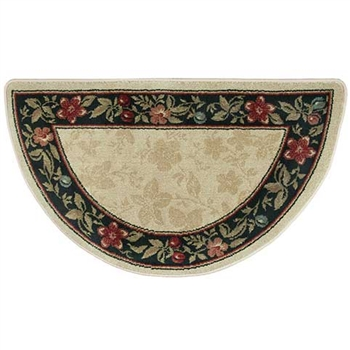 Pictured is the 25 inch x 42 inch Half Round Garden Inspired Hearth Rug manufactured in America by Goods of the Woods