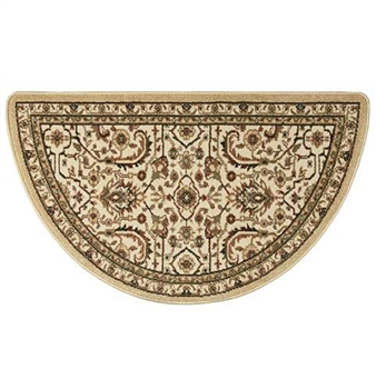 Pictured is the 25 inch x 42 inch Regal Fireplace Half Round Gold Rug manufactured in America by Goods of the Woods