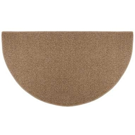Pictured is the 27 inch x 48 inch Half Round Butterscotch Sisal Weave Hearth Rug manufactured in America by Goods of the Woods