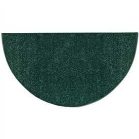 Pictured is the 27 inch x 48 inch Flame Resistant Green Polyester Rug manufactured in America by Goods of the Woods