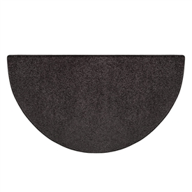 Pictured is the 27 inch x 48 inch Black Polyester Flame Half Round Hearth Rug manufactured in America by Goods of the Woods.