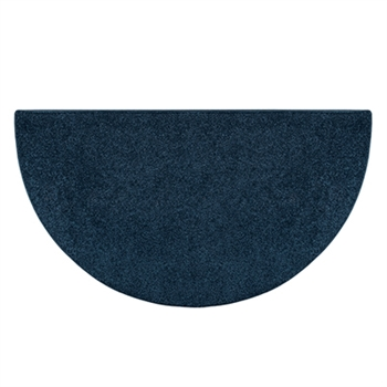 Pictured is the 27 inch x 48 inch Midnite Blue Polyester Flame Fireplace Rug manufactured in America by Goods of the Woods.