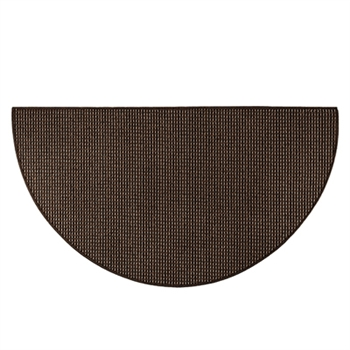 Pictured is the 27 inch x 48 inch Cozy Half Round Black Hearth Rug manufactured in America by Goods of the Woods.