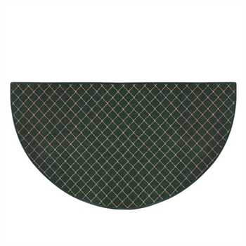 Pictured is the 27 inch x 48 inch Fire Resistant Green Trellis Hearth Rug manufactured in America by Goods of the Woods.