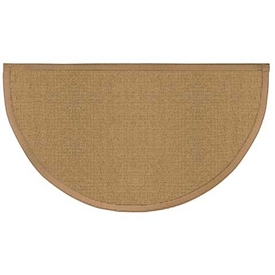 Pictured is the 27 inch x 48 inch Beige Sunset Fire Resistant Hearth Rug  manufactured in America by Goods of the Woods.