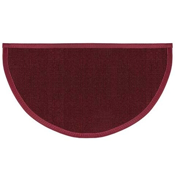 Pictured is the 27 inch x 48 inch Oxblood Half Round Sunset Hearth Rug manufactured in America by Goods of the Woods.
