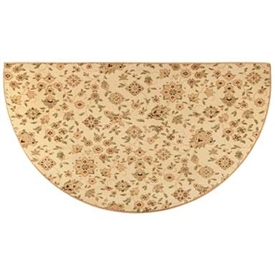 Pictured is the 27 inch x 48 inch Beige Garden Floral Pattern Fireplace Rug manufactured in America by Goods of the Woods.