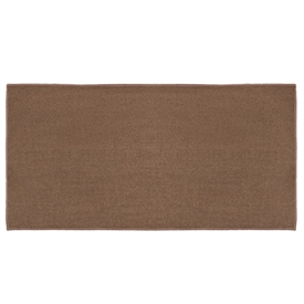 Pictured is the 24 inch x 48 inch Durable 4 Foot Brown Rectangular Hearth Rug manufactured in America by Goods of the Woods.