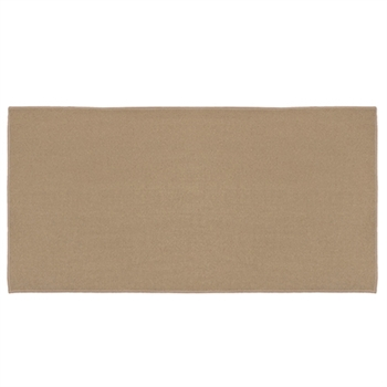 Pictured is the 24 inch x 48 inch 4 Foot Rectangular Tan Fiberglass Hearth Rug  manufactured in America by Goods of the Woods.