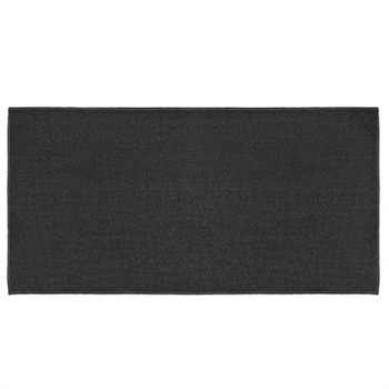 Pictured is the 24 inch x 48 inch Rectangle Fire Resistant Charcoal Rug  manufactured in America by Goods of the Woods.