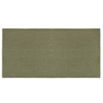 Pictured is the 24 inch x 48 inch Sage Green Fiberglass Fire Resistance Hearth Rug manufactured in America by Goods of the Woods.