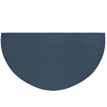 Pictured is the 27 inch x 48 inch Half Round Blue Fiberglass Hearth Rug  manufactured in America by Goods of the Woods.