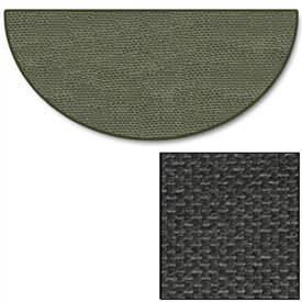 Pictured is the 32 inch x 60 inch 5 Foot Charcoal Half Round Hearth Rug manufactured in America by Goods of the Woods.