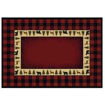 Pictured is the 30 inch x 50 inch Trophy Rectangular Fireplace Rug manufactured in America by Goods of the Woods.