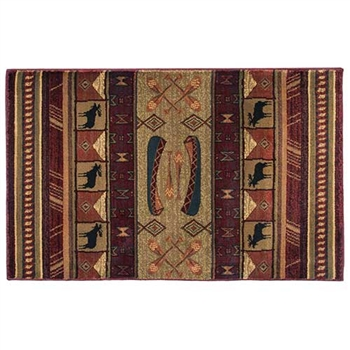 Pictured is the 30 inch x 50 inch Moose Walk Rectangular Hearth Rug manufactured in America by Goods of the Woods.