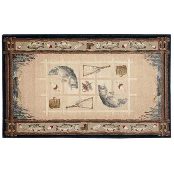 Pictured is the 30 inch x 50 inch Fish and Stream Rectangular Hearth Rug manufactured in America by Goods of the Woods.