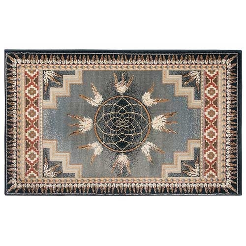 Rectangular Native American Inspired Hearth Rug 30 x 50