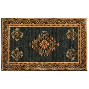 Pictured is the 30 inch x 50 inch Green Rectangular Adobe Fireplace Rug manufactured in America by Goods of the Woods.