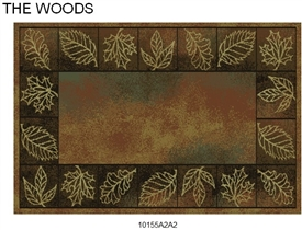 Pictured is the 30 inch x 50 inch Fire Resistant Rectangular Hearth Rug with Leaves manufactured in America by Goods of the Woods.