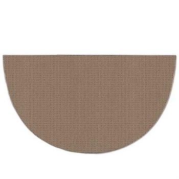 Pictured is the 36 inch x 72 inch Solid Beige Half Round Fire Resistant Rug manufactured in America by Goods of the Woods.