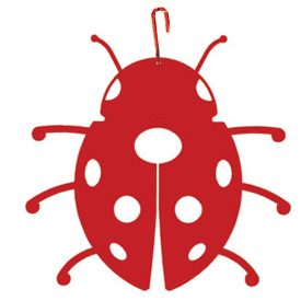 Wrought Iron Ladybug Silhouette-RED
