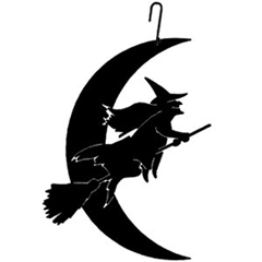 Wrought Iron Witch-Moon Silhouette