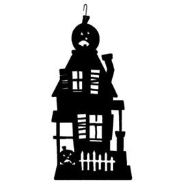 Wrought Iron Haunted House Silhouette