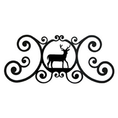 Wrought Iron Deer Over Door Plaque