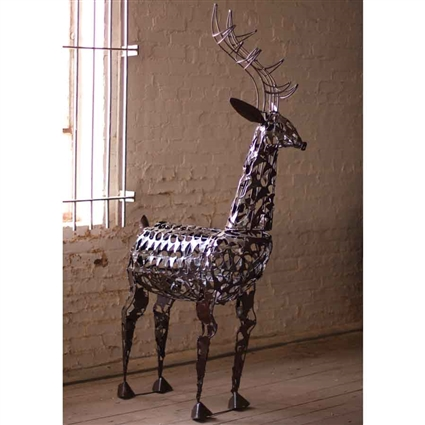 Pictured here is the one of a kind Scrap Deer Sculpture at Timeless Wrought Iron.