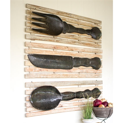Pictured here is the Set of 3 Rustic Metal Fork Knife Spoon on Recycled Wood at Timeless Wrought Iron.