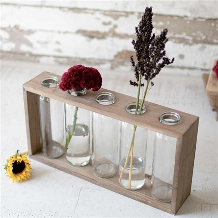 Pictured here is the 5 Bud Vase with Wooden Stand at Timeless Wrought Iron.