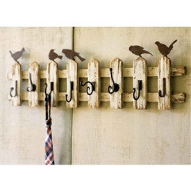 Pictured here is the Picket Fence Coat Rack with Vintage Birds at Timeless Wrought Iron.