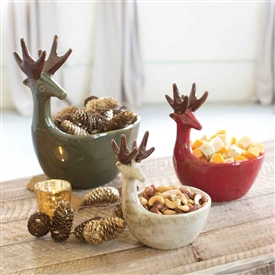 Pictured here is the beautiful Ceramic Deer Bowls sold as a set of three at Timeless Wrought Iron.