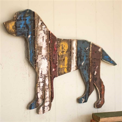 Pictured here is the Hanging Wooden Dog Wall Art at TimelessWrought Iron.