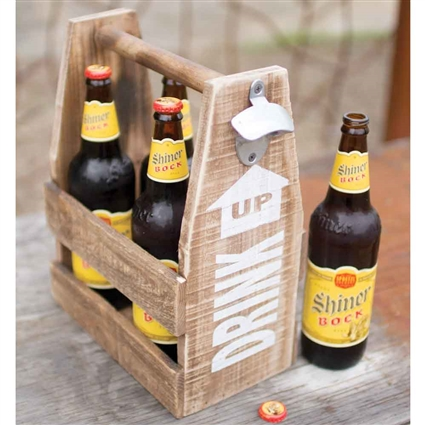 Pictured here is the Vintage Wooden Beer Caddy with a Handy Bottle Opener at Timeless Wrought Iron.