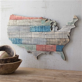 Pictured here is the Multi-Colored Recycled Wooden USA Map at Timeless Wrought Iron