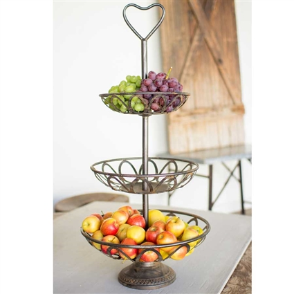 Pictured here is the Rustic Metal Three Tiered Serving Tower at Timeless Wrought Iron.