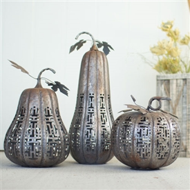 Pictured here is the Set of 3 Metal Rustic Galvanized Pumpkins at Timeless Wrought Iron.