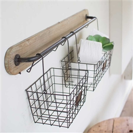 Pictured here is the Ultimate Farmhouse Wood and Metal Bracket with Hanging Wire Baskets at Timeless Wrought Iron.
