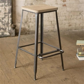 Pictured here is the Farmhouse Bar Stool with Wooden Square Seat at Timeless Wrought Iron.