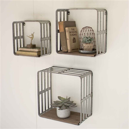 Pictured here is the Slat Metal and Wood Display Crates at Timeless Wrought Iron.