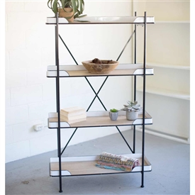 Pictured here is the Metal Enamelware and Wood Shelving Unit at Timeless Wrought Iron.