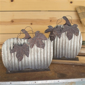 Pictured here is the Set of 2 Table Top Pumpkins at Timeless Wrought Iron.
