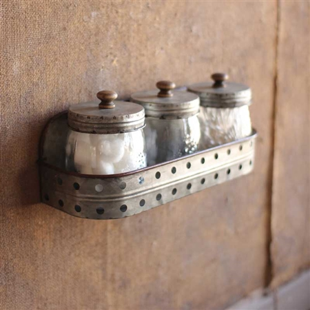 Pictured here is the Hanging Galvanized Canisters Timeless Wrought Iron.