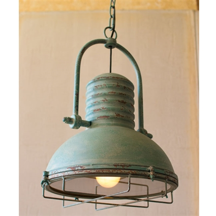 Pictured here is the Antique Turquoise Pendant Light at Timeless Wrought Iron.